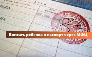Вписать ребенка в паспорт родителей в МФЦ